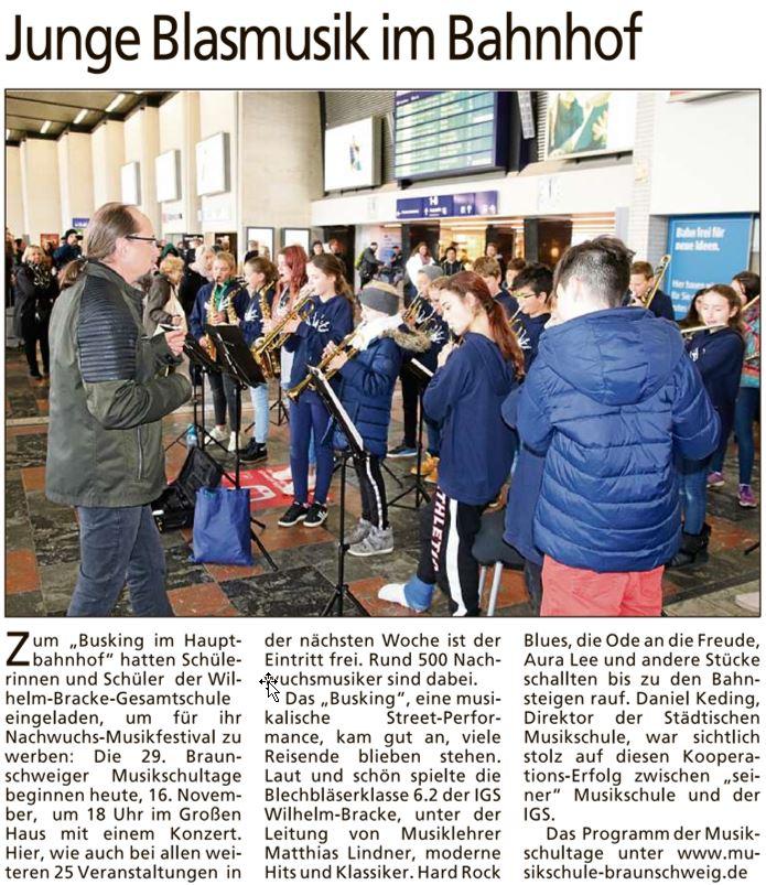 Artikel: Junge Blasmusik im Bahnhof