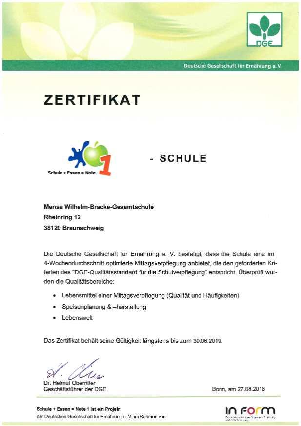 Bild - Zertifikat der Schulmensa Wilhelm-Bracke-Gesamtschzule